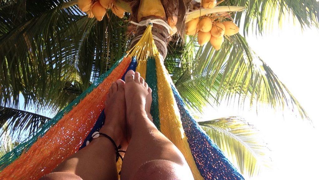 Sunbathing in a hammock