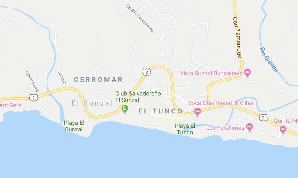 Map of El Tunco