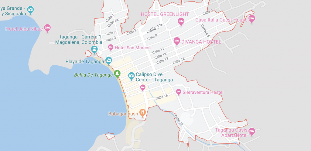 Map of taganga colombia