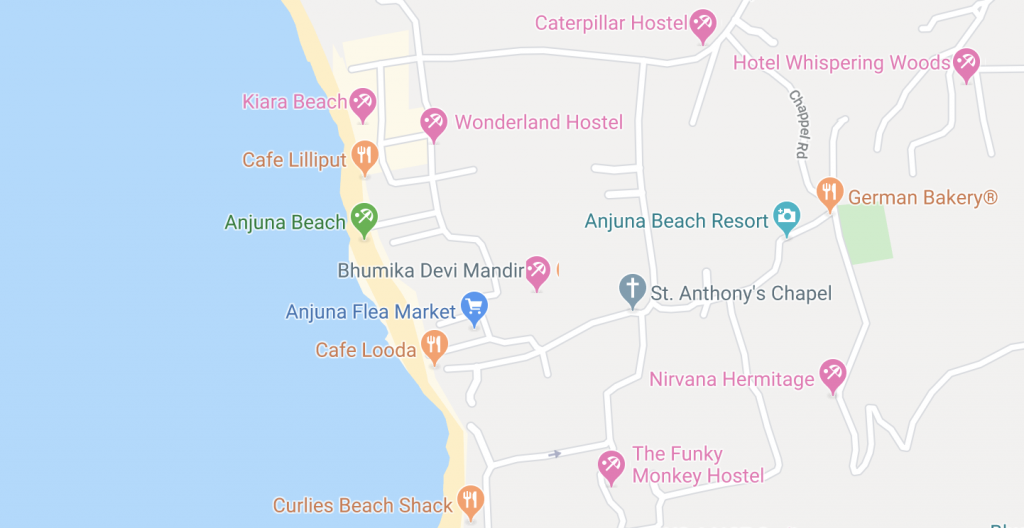 Map of Anjuna Beach