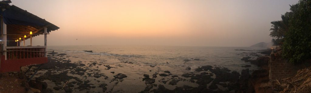 Anjuna beach sunset in Goa